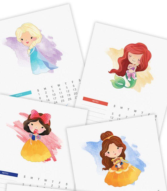 free watercolor princess 2017 calendar 699x800 - Mời bạn tải về trọn bộ 20 bộ lịch in mới cho năm 2017