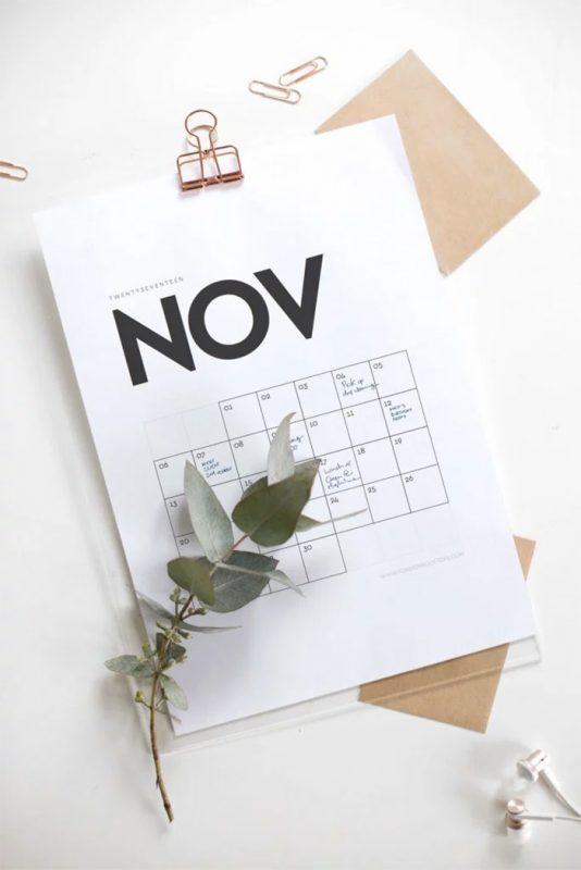 minimal printable calendar 2017 534x800 - Mời bạn tải về trọn bộ 20 bộ lịch in mới cho năm 2017