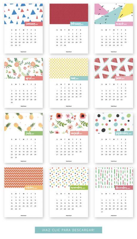 monthly printable calendar 2017 460x800 - Mời bạn tải về trọn bộ 20 bộ lịch in mới cho năm 2017
