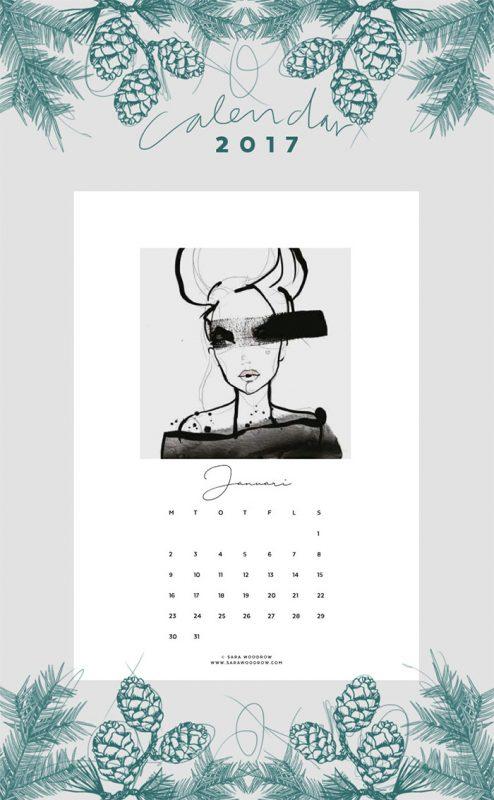 printable calender 2017 494x800 - Mời bạn tải về trọn bộ 20 bộ lịch in mới cho năm 2017
