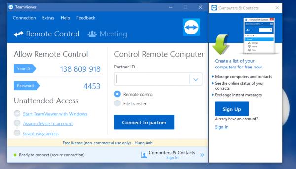 điều khiển máy tính từ xa bằng điện thoại bằng Teamviewer