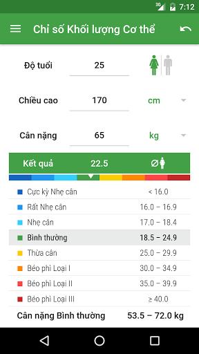 BMI Calculator for android - Tổng hợp 5 ứng dụng hay và miễn phí trên Android ngày 05.4.2017