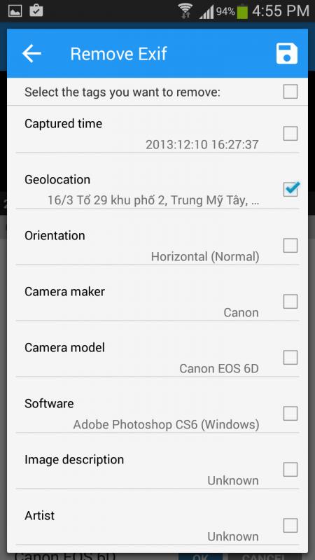 Cách thay đổi thời gian chụp và vị trí được lưu trong bức ảnh trên Android 4