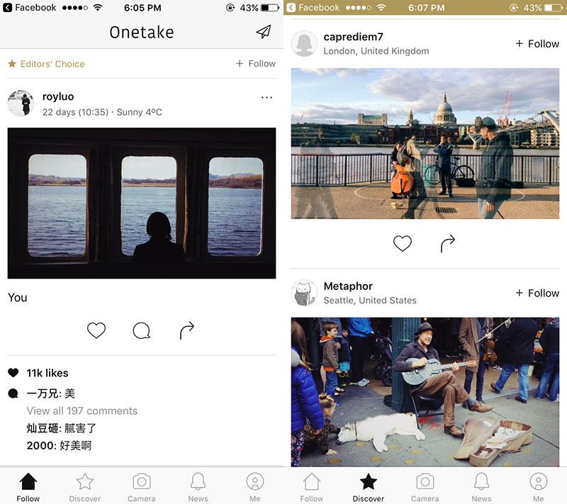 onetake 01 - Onetake: Chụp ảnh GIF nghệ thuật trên iOS