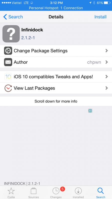 Cách đưa không giới hạn biểu tượng lên thanh dock iOS 10 đã jailbreak