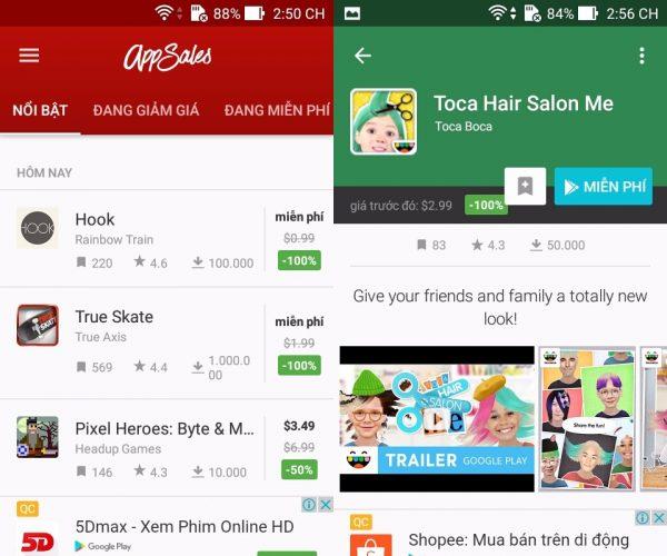 appsale 600x500 - 5 ứng dụng săn app, game miễn phí, giảm giá trên Android