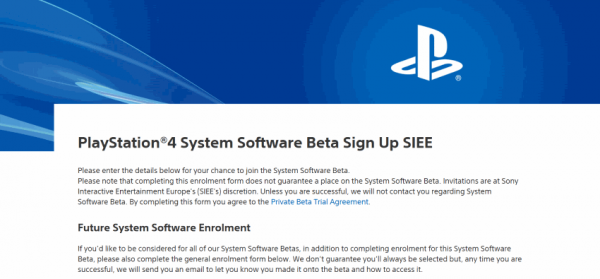 PlayStation 4 System Software Beta Sign Up