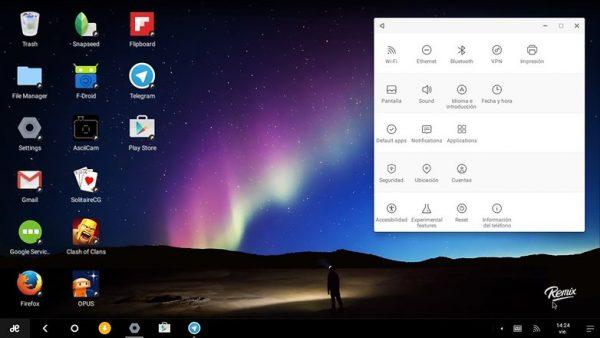 Giao diện Remix OS khi chạy trên PC