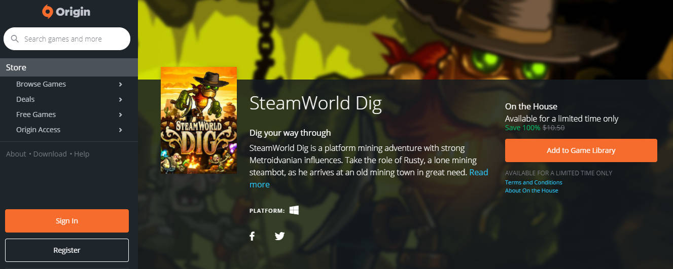 steamworld dig - SteamWorld Dig đang miễn phí trên Origin