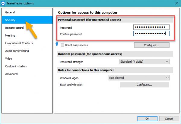 Cách đặt mật khẩu cố định cho Teamviewer