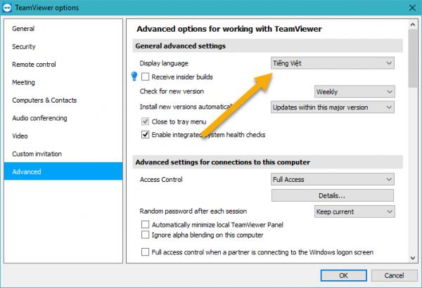 Cách chỉnh TeamViewer sang tiếng Việt để dễ sử dụng 2