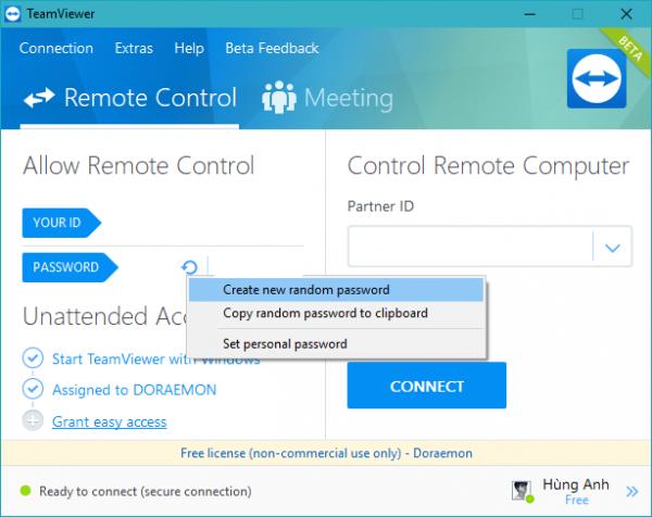 Cách đổi mật khẩu Teamviewer