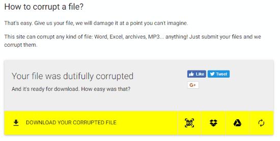 corrupt - Sửa lỗi giải nén file RAR, ZIP trực tuyến miễn phí
