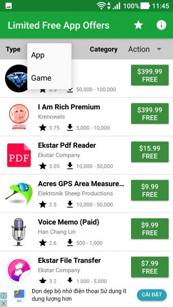 Screenshot 20171229 114559 338x600 - 5 ứng dụng săn app, game miễn phí, giảm giá trên Android