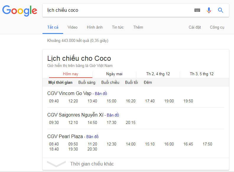lich chieu coco - Cách xem lịch chiếu phim rạp trên Google, bạn biết chưa?