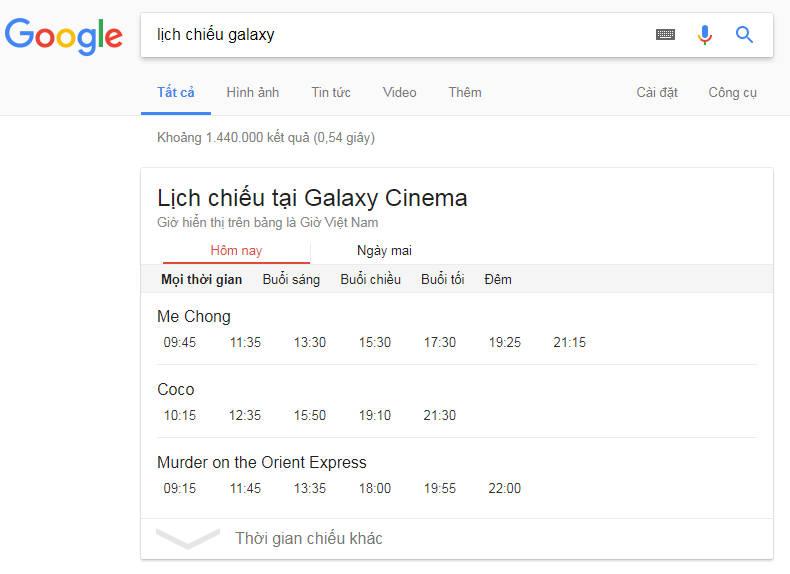 lich chieu galaxy - Cách xem lịch chiếu phim rạp trên Google, bạn biết chưa?
