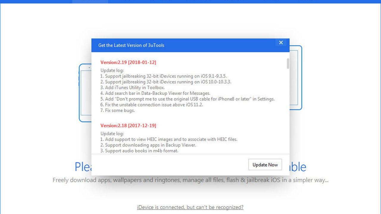 3utools 2.19 1 1 - 3uTools cập nhật bản 2.19, hỗ trợ jailbreak iOS 10.x trên thiết bị 32-bit