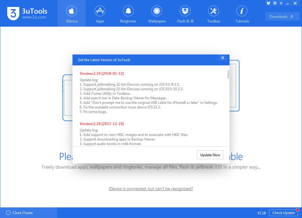 3utools 2.19 1 - 3uTools cập nhật bản 2.19, hỗ trợ jailbreak iOS 10.x trên thiết bị 32-bit