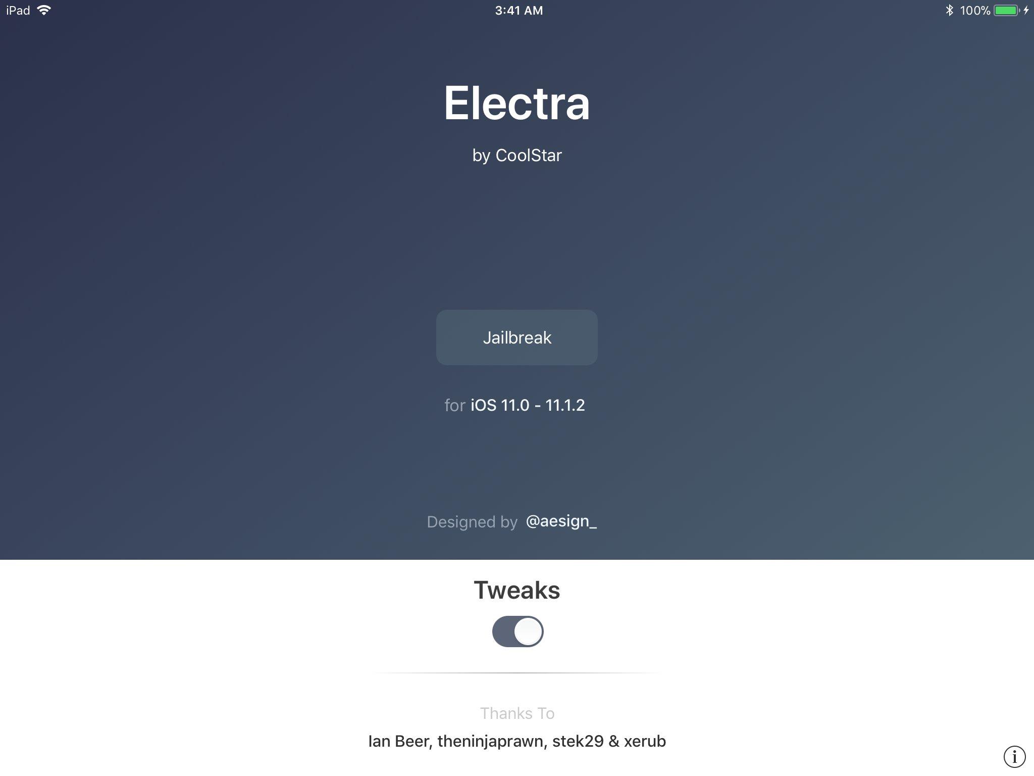 electra 1 - Coolstar ra mắt Electra - công cụ jailbreak iOS 11 - 11.1.2, có substrate