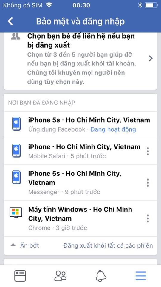 facebook logout 1 - Cách thoát Facebook Messenger trên iPhone hay thiết bị chạy iOS