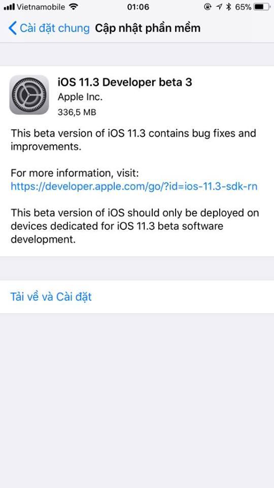 ios 11 3 beta 3 - Đã có iOS 11.3 beta 3, mời bạn tải về trải nghiệm