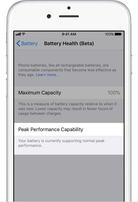 ios11 iphone6 settings battery health normal - Cách tắt tính năng giảm hiệu năng khi chai pin trên iOS 11.3