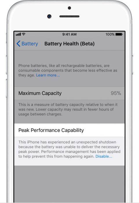 ios11 iphone6 settings battery health performance management applied - Cách tắt tính năng giảm hiệu năng khi chai pin trên iOS 11.3