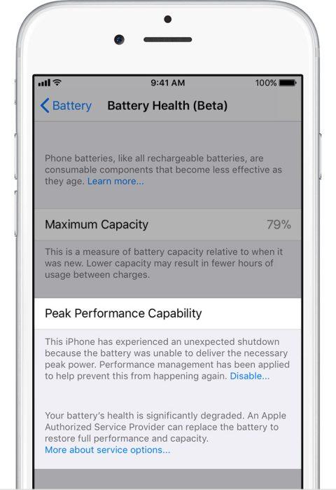 ios11 iphone6 settings battery health performance management disabled significant degrade - Cách tắt tính năng giảm hiệu năng khi chai pin trên iOS 11.3