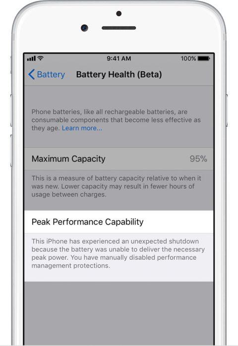 ios11 iphone6 settings battery health performance management disabled - Cách tắt tính năng giảm hiệu năng khi chai pin trên iOS 11.3