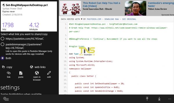 Quản lý văn bản, code lưu trữ trên Pastebin từ ứng dụng dụng UWP