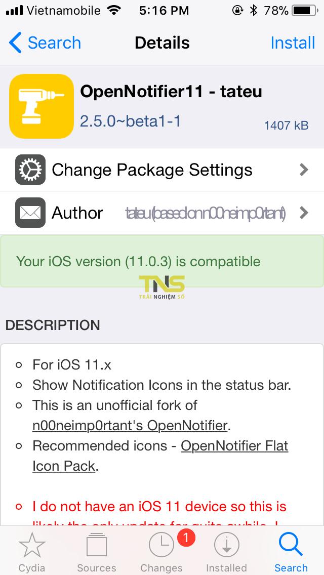 IMG 0318 - Cách hiển thị icon thông báo lên status bar độc lạ cho iOS 11