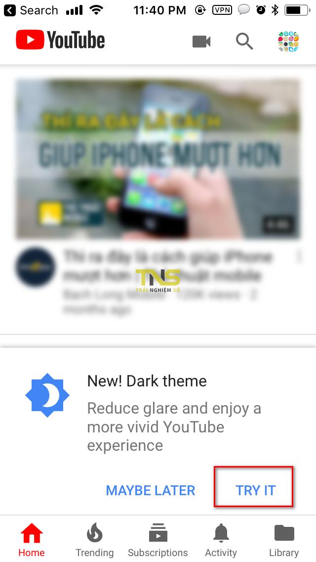IMG 0369 - YouTube đã chính thức mở Dark Mode cho mọi thiết bị iOS
