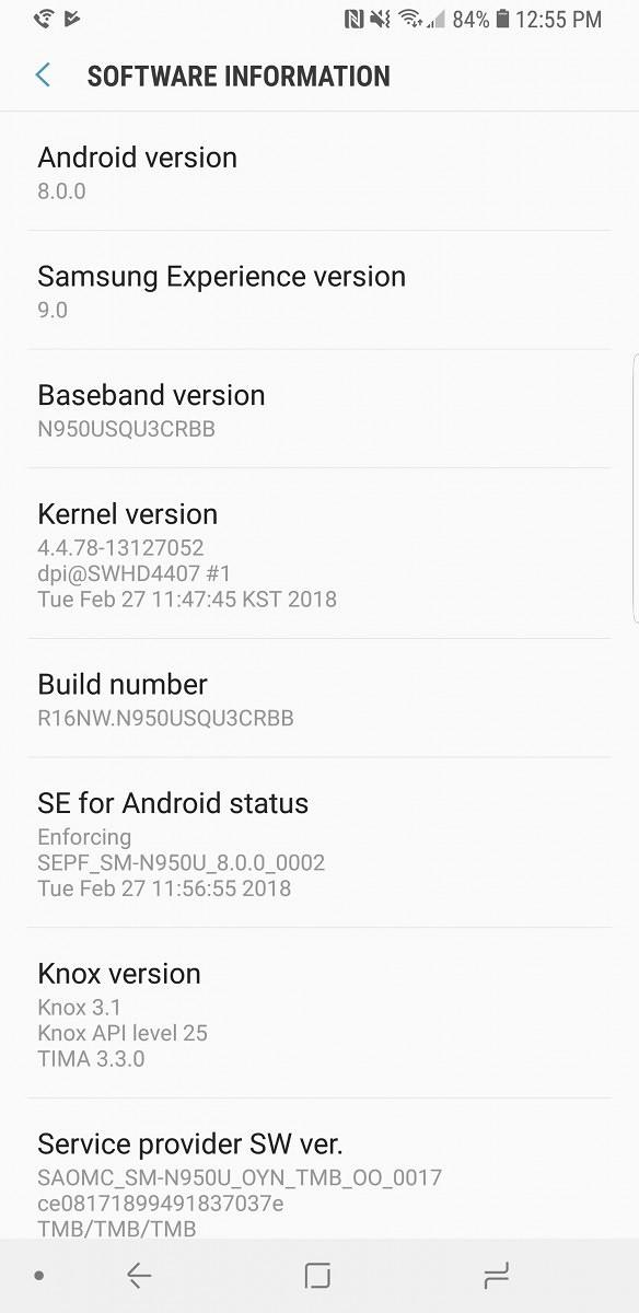 Screenshot 20180303 125542 Settings - Cách cập nhật Samsung Galaxy Note 8 lên Android Oreo sớm