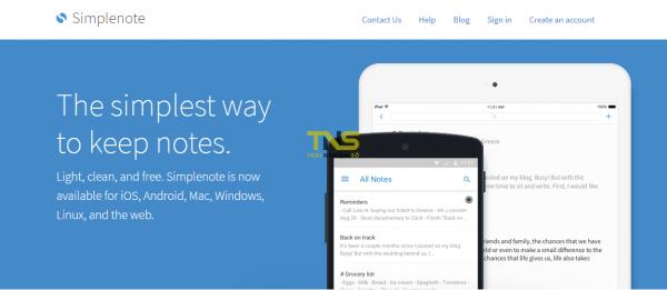 Ghi chú online với SimpleNote Web