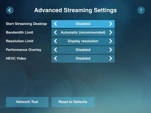 Steam Link Advanced Streaming Settings