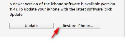 itunes restore 2 - Cách hạ cấp từ iOS 11.4 xuống 11.3.1 để jailbreak