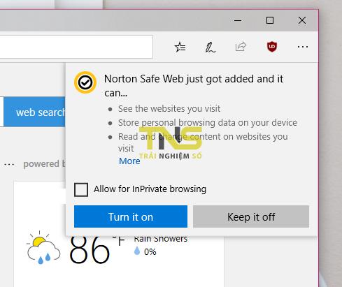 2018 07 06 14 40 21 - An toàn lướt web trên Microsoft Edge với Norton Safe Web