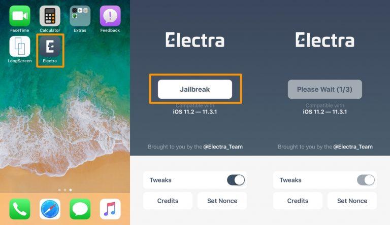 Jailbreak iOS 1131 Electra1131 - Cách jailbreak iOS 11.2 - iOS 11.3.1 trực tiếp không cần máy tính