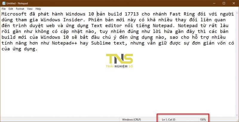 Notepad - những tính năng mới trên phiên bản Windows 10 Build 17713