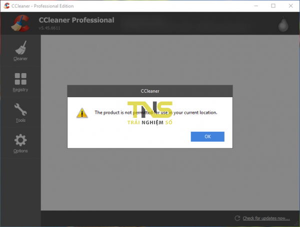 """2018 08 04 13 53 52 600x453 - Khắc phục lỗi""""The production is not permitted for use in your current location"""" trên CCleaner"""