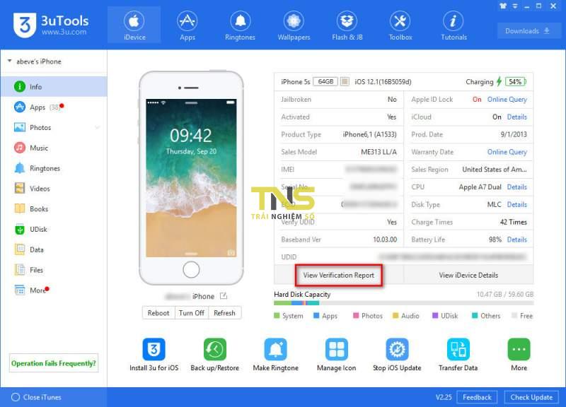 """3utools check iphone 1 800x576 - """"Tuyệt chiêu"""" kiểm tra iPhone có bị """"luộc"""" linh kiện không khi mua"""