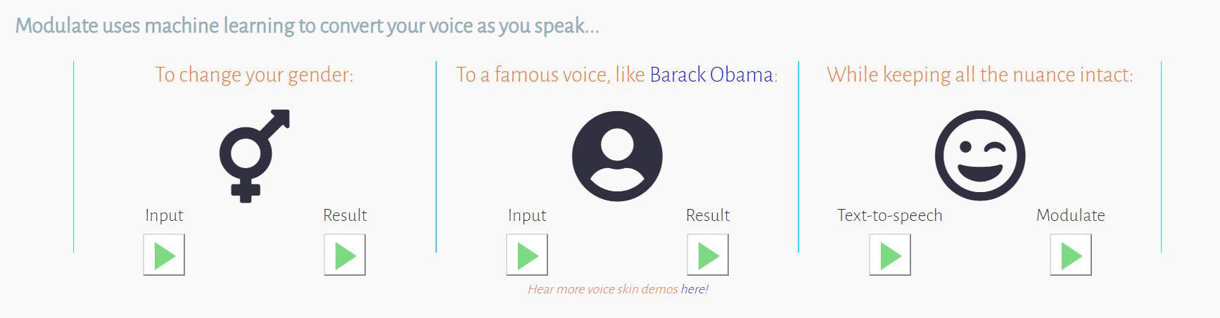 modulate ai 1 - Chuyển giọng nói bằng công cụ tận dụng Machine Learning