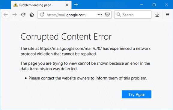 """Corrupted Content Error - Khắc phục lỗi """"Corrupted Content Error"""" trên Firefox 63"""