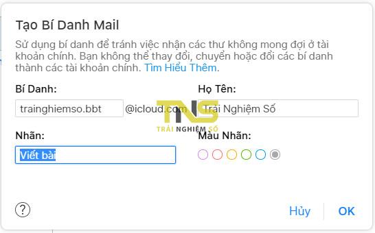 icloud alias 3 - Tạo một địa chỉ email ảo bằng tài khoản iCloud
