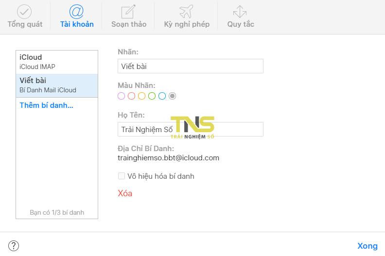icloud alias 4 - Tạo một địa chỉ email ảo bằng tài khoản iCloud