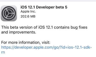 iOS 12.1 Developer Beta 5