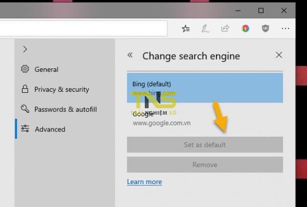 2018 11 25 15 14 31 600x406 - Cách nhanh nhất đổi công cụ tìm kiếm mặc định từ Bing sang Google trên Microsoft Edge