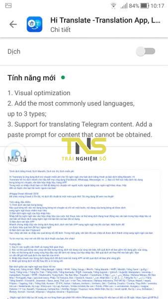 Hi Translate: Dịch văn bản 53 ngôn ngữ trong clipboard trên