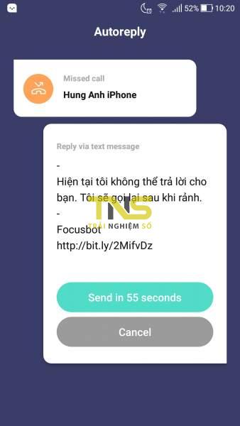 Screenshot 20181130 102046 338x600 - Focusbot: Ẩn thông báo, tự trả lời khi có cuộc gọi, tin nhắn