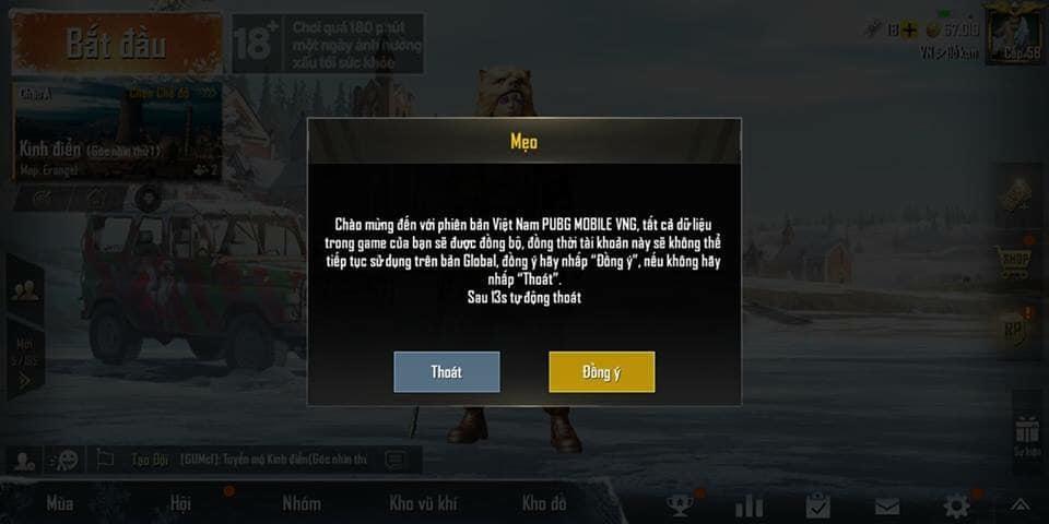 Người chơi PUBG Mobile VN sẽ bị xóa dữ liệu ở tài khoản quốc tế?